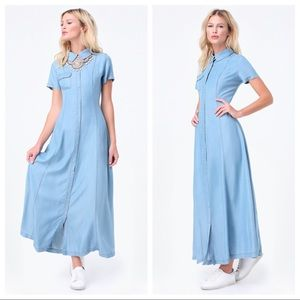 Bebe Chambray Denim Maxi Short Sleeve Shirtdress